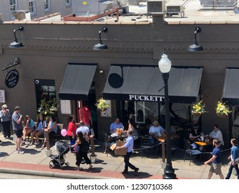 FRANKLIN, TENNESSEE-APRIL 28, 2018:  Puckett's Grocery & Restaurant is a downtown Franklin hotspot featuring real southern coooking and live country music.