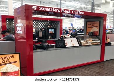 FRANKLIN, TENNESSEE-SEPTEMBER 17, 2018:  New Seattle's Best Coffee outlet inside a recently renovated Walmart.