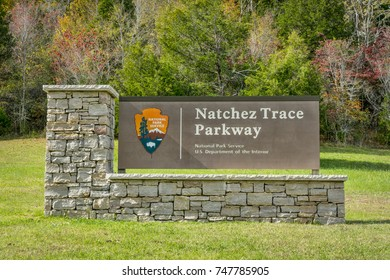 Franklin, TN, USA - October, 29, 2017:  ENtry sign to  Natchez Trace Parkway, 444-mile recreational road and scenic drive through three states