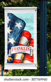 FRANKLIN, TN-AUGUST, 2015:  Commemorative flag for the City of Franklin, Tennessee.  Franklin was the site of a major Civil War battle and today, it's historic downtown draws tourists from all over.