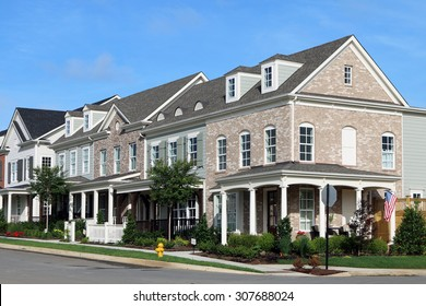FRANKLIN, TN-AUGUST, 2015:  Town homes in an upscale development in central Tennessee.