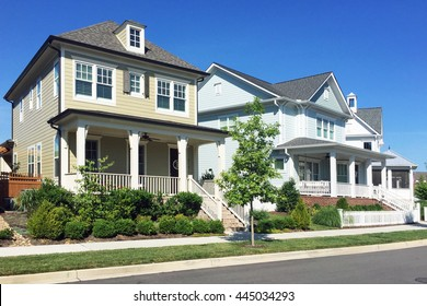 FRANKLIN, TN-JUNE 29, 2016:  New homes in the upscale neighborhood of Westhaven in Franklin, Tennessee.