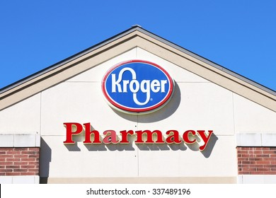 FRANKLIN, TN-OCTOBER, 2015:  Sign for a Kroger supermarket pharmacy.   Kroger pharmacies have been on a growth trajectory and there are now over 2100 Kroger pharmacies across the United States.