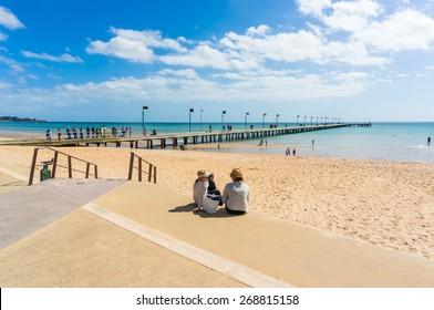 FRANKSTON, AUSTRALIA - March 15, 2015: Frankston Pier protrudes into Port Phillip Bay in Frankston, a satellite city south-east of Melbourne on the Monington Peninsula