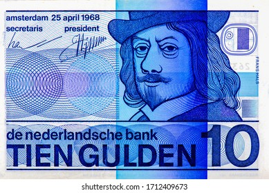 Frans Hals, peintre néerlandais. Portrait des Pays-Bas 10 Dutch Guilder 1968 Banknotes. Un Vieux billet en papier, rétro vintage. Célèbres billets anciens.Collection.