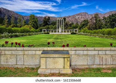 Franschhoek, South Africa - April 12th, 2016 - historic Huguenot monument