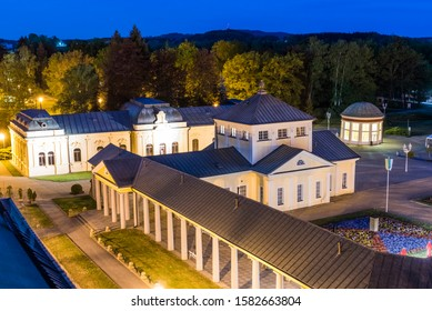 Frantisek Pavilion which houses Frantisek mineral spring and other spa and colonnade buildings are the most famous structures in Frantiskovy Lazne Spa town in the North Czech Republic. Seen from above - Shutterstock ID 1582663804