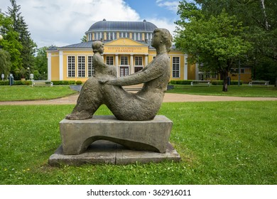 FRANTISKOVY LAZNE CZECH REPUBLIC-May 24,2014.Statue in Frantiskovy Laznich