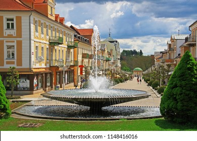 Frantiskovy lazne spa town in Cheb District of Karlovy Vary Region in Czech Republic with the fountain and the central street - Shutterstock ID 1148416016