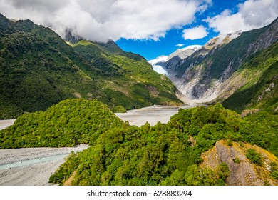 Franz Josef Glacier, Located in Westland Tai Poutini National Park on the West Coast of New Zealand