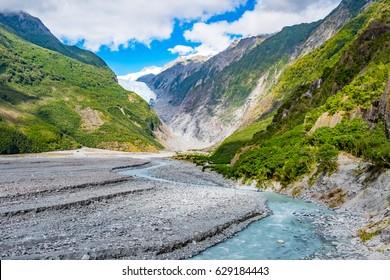 Franz Josef Glacier, Located in Westland Tai Poutini National Park on the West Coast of New Zealand