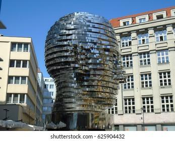 Franz Kafka's gigantic mechanical head, abstract art. Prague, Czech Republic, Europe, 22.4.2017