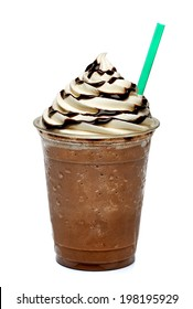 Frappuccino with straw  in plastic takeaway cup isolated on white background