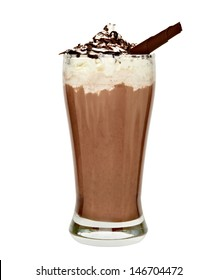 Frappuccino in tall glass with cream, chocolate sauce and curl on white background