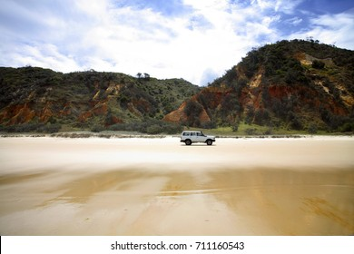 Fraser Island 4WD on beach at Red Rocks