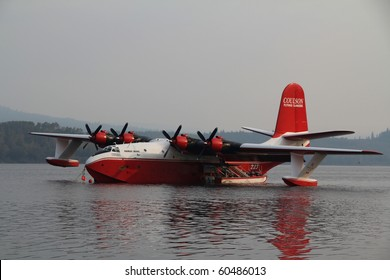 FRASER LAKE, BC - AUG 23: Coulson flying watertanker on location to assist the Interior firefighters with the raging forest fires in the area on Aug 23, 2010 in Fraser Lake, BC, Canada