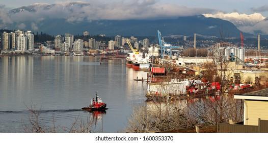 Fraser River Scene Tugboat and Docks