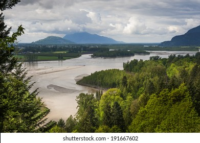 Fraser River Valley. The Frazier River is an important salmon habitat for the lower mainland of British Columbia. A lovely scenic river.