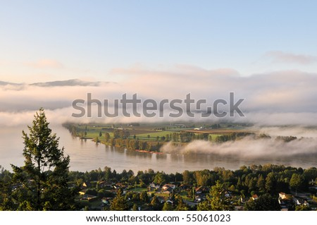 Fraser Valley at foggy sunrise, British Columbia, Canada