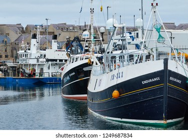 Fraserburgh, Aberdeenshire, Scotland. Circa 2018. Tied up fishing boats in Fraserburgh harbour.