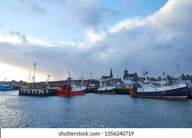 Fraserburgh, Aberdeenshire, Scotland. Circa 2019. Fraserburgh harbour, in Aberdeenshire.