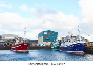 Fraserburgh, Aberdeenshire, Scotland. Circa 2019. Fraserburgh harbour, in north Aberdeenshire.