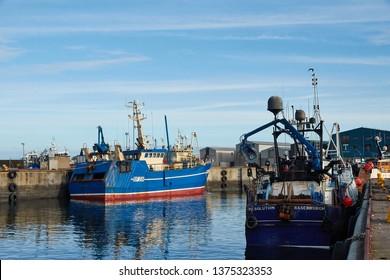 Fraserburgh, Aberdeenshire, Scotland. Circa 2019. The harbour in the Aberdeenshire town of Fraserburgh.