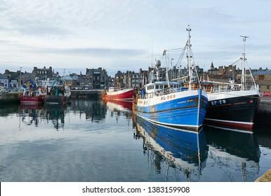 Fraserburgh, Aberdeenshire, Scotland. Circa 2019. The Scottish fishing port of Fraserburgh.