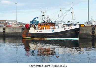 Fraserburgh, Aberdeenshire, Scotland. Circa 2019. The Aberdeenshire harbour of Fraserburgh.