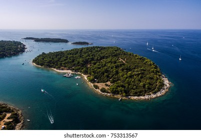 Fratarski otok Pula Croatia Aerial