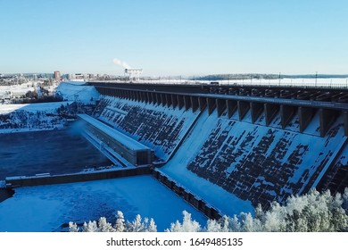 Fraternal hydroelectric power station, view of the dam and river, industrial landscape.