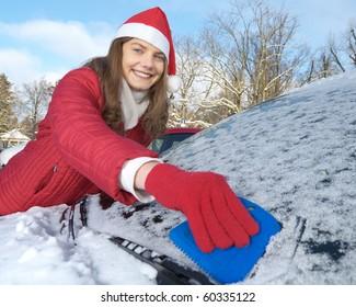 Frau, Winter, Auto