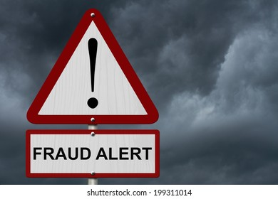 Fraud Alert Caution Sign, Red and White Triangle Caution sign with words Fraud Alert with stormy sky