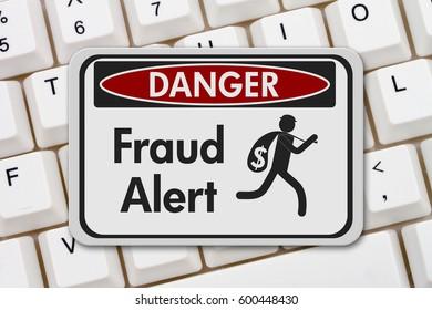 Fraud alert danger sign, A black and white danger sign with text Fraud Alert and theft icon on a keyboard 3D Illustration
