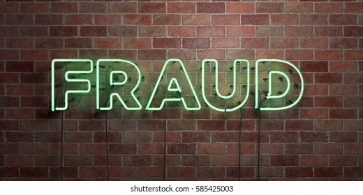 FRAUD - fluorescent Neon tube Sign on brickwork - Front view - 3D rendered royalty free stock picture. Can be used for online banner ads and direct mailers.