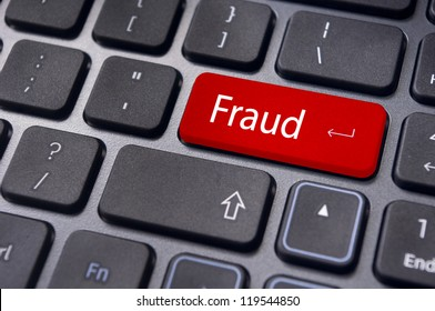 fraud, internet crime, with a message on enter key of computer keyboard.