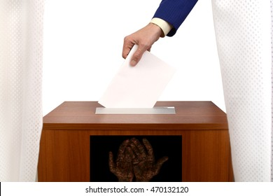 fraudulent voting at the polling station, fake ballot box for bulletins