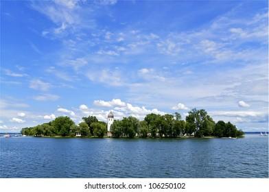 Fraueninsel Island on Lake Chiemsee in the Bavarian Alps