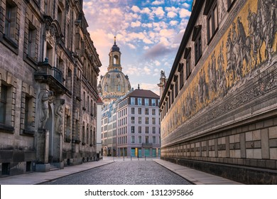 Frauenkirche and Furstenzug in Dresden, Germany