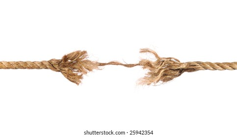 Frayed rope about to break isolated over white background