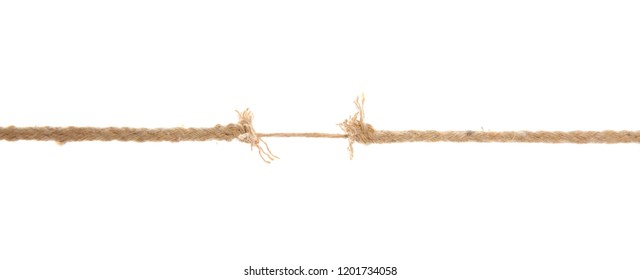 Frayed rope at breaking point on white background