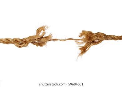 Frayed rope isolated over white background