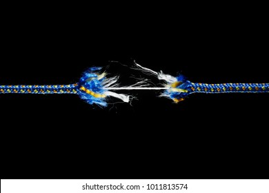 Frayed rope - tension, stress and risk concept