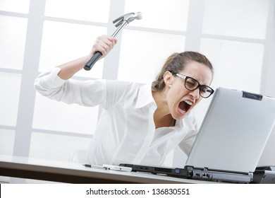 Freaked out businesswoman with a hammer ready to smash her laptop computer