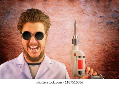 Freaky mad doctor in white coat and dark sunglasses with drill in hand on creepy red background. Halloween concept