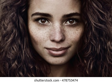 freckle natural beauty face