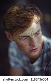 Freckles. Man with freckles
