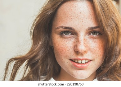 freckles woman portrait
