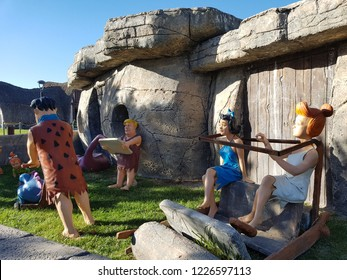 Fred Flintstone and Wilma Flintstone, Theme park of 80 Binde Devr-i Alem Parki Konya. Flintstone family. Konya - Turkey. 5 November 2018.