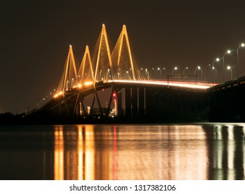 The Fred Hartman Bridge is a cable-stayed bridge in the U.S. state of Texas spanning the Houston Ship Channel. The bridge is the longest cable-stayed bridge in Texas. Night photography